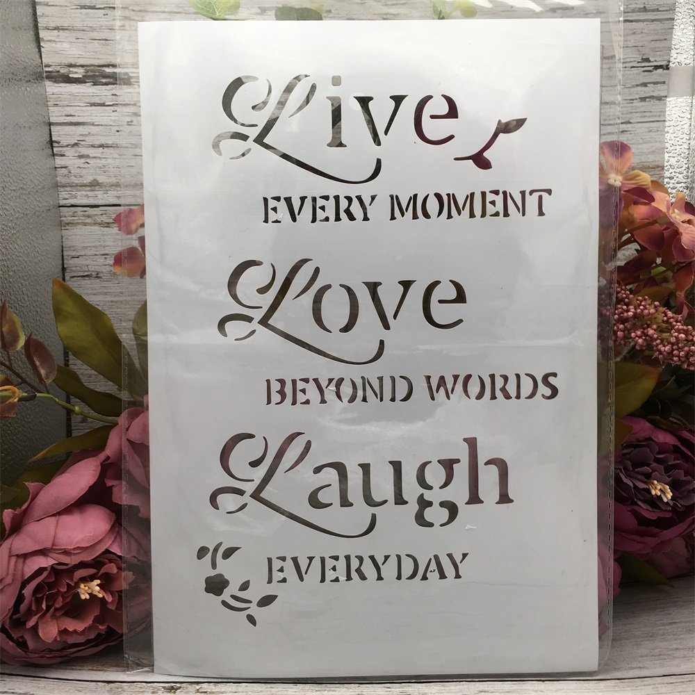 29*21cm A4 Love Live Laugh DIY Layering Stencils Wall Painting Scrapbook Coloring Embossing Album Decorative Paper Card Template