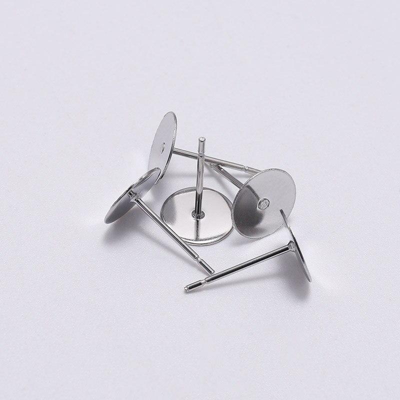 Основа для сережек-гвоздиков из нержавеющей стали, 50/100 шт./лот, 3-12 мм