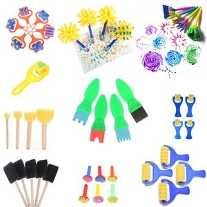 1Set Creative Set For Kids Sponge Brushes Children Kids Painting Graffiti Toys Plastic Handle Drawing Brush Drawing Toys