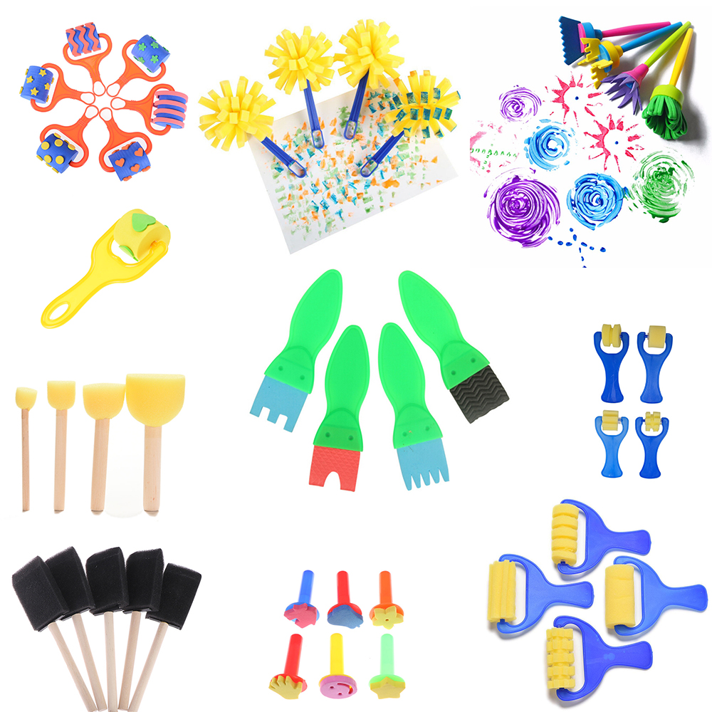 1Set Creative Set For Kids Sponge Brushes Children Kids Painting Graffiti Toys Plastic Handle Drawing Brush Drawing Toys
