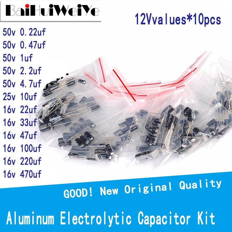 120PCS/LOTE 0,22 мкФ-470 мкФ с алюминиевой крышкой, 50В Алюминий электролитический набор различных конденсаторов 0,22 мкФ 0,47 мкФ, алюминиевая крышка, 25В...