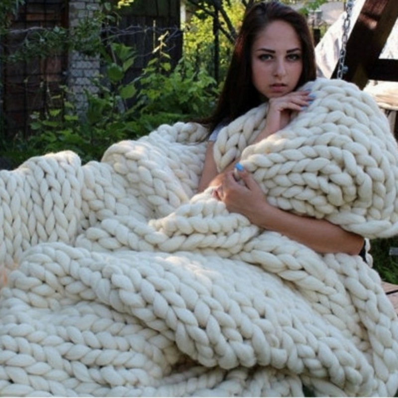 Newest DIY Thick Knit Carpets Blanket Cotton Wool <font><b>Yarn</b></font> Basket Cloth Paragraph Soft Baby Cloth <font><b>Knitting</b></font> Wool for Home Decors image