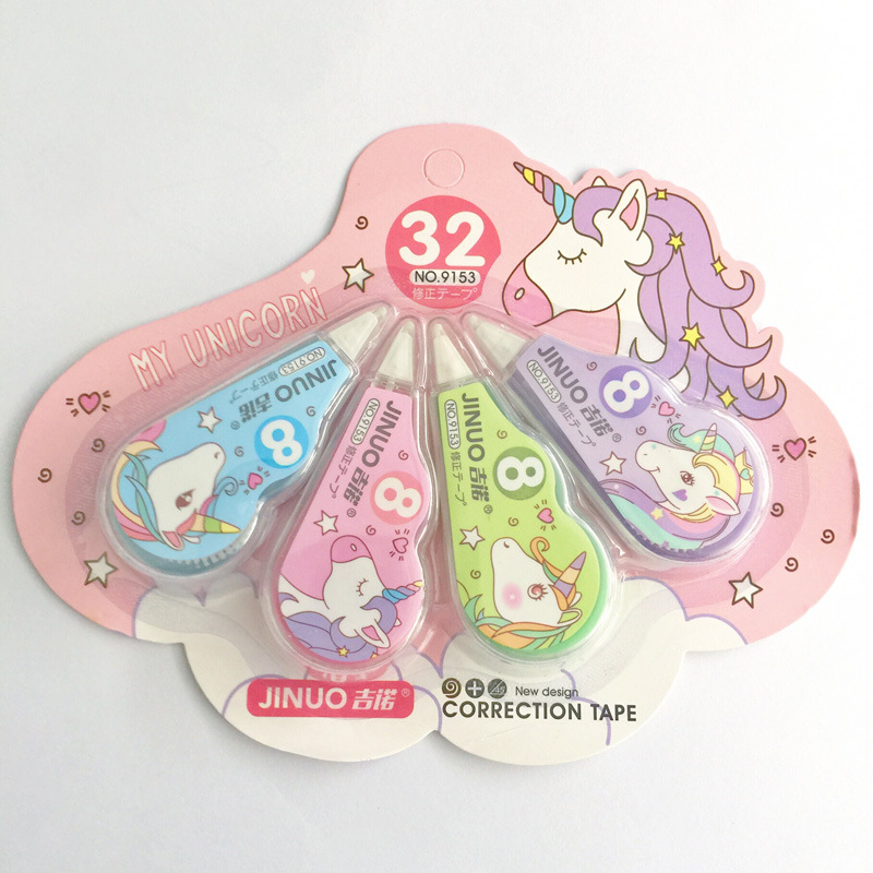 4 Pcs/pack Unicorn Correction Tape Cartoon Sticker Stationery Office School Supplies Promotional Gift