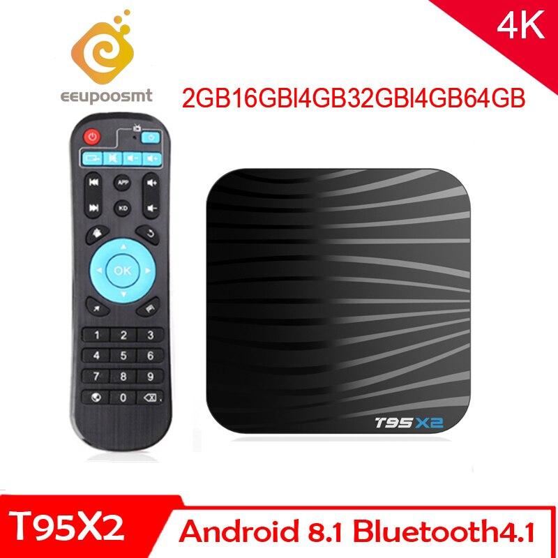Boîtier TV intelligent Android 8.1 T95X2 4GB 64GB Amlogic S905X2 lecteur multimédia Quad Core H.265 4K décodeur Youtube T95 X2