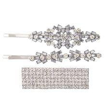 3Pcs/Set Womens Luxury Jewelry Bobby Pins Rhinestone Flower Rectangle Hair Clip
