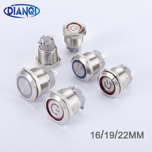 16mm 19mm 22mm Metal Push Button Switch Short Pins Locking Latching Self-reset Momentary 1NO LED red blue yellow green white cheap DIANQI CN(Origin) Short Pins Small Button Alloy Switches 1year Brass nickel plating or Brass chrome Stainless steel Red Yellow Blue White Green