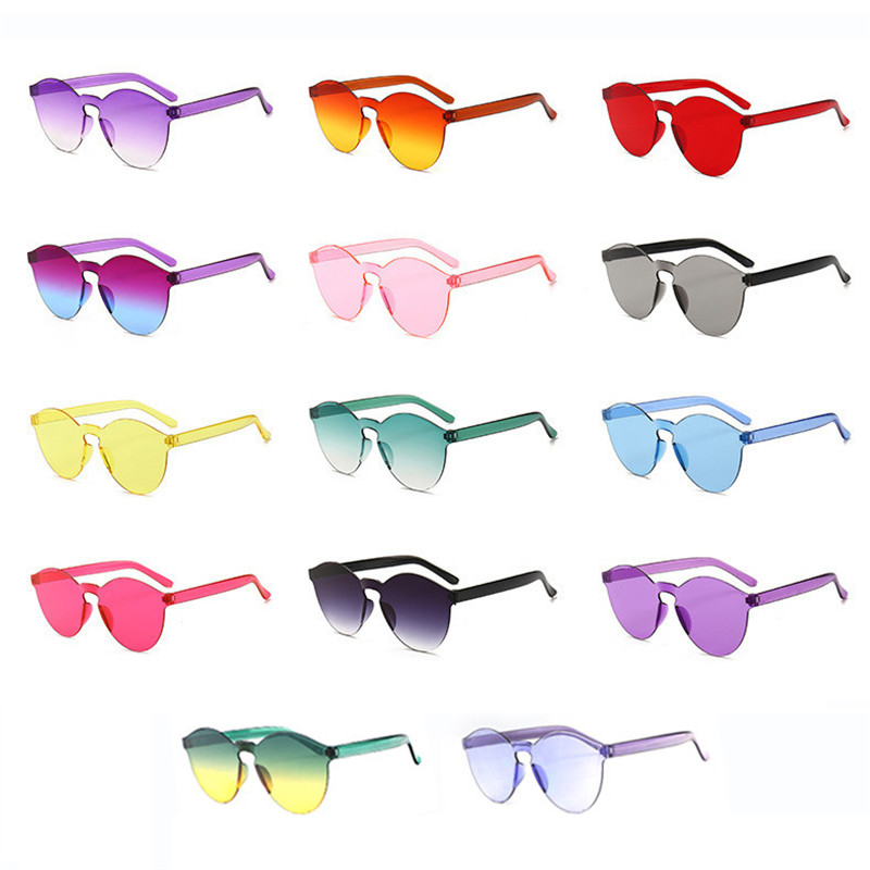 Cheap Rimless Sunglasses Women Fashion Round Ocean Candy Lens Shades Female Sun Glasses Girls Gafas De Sol UV400