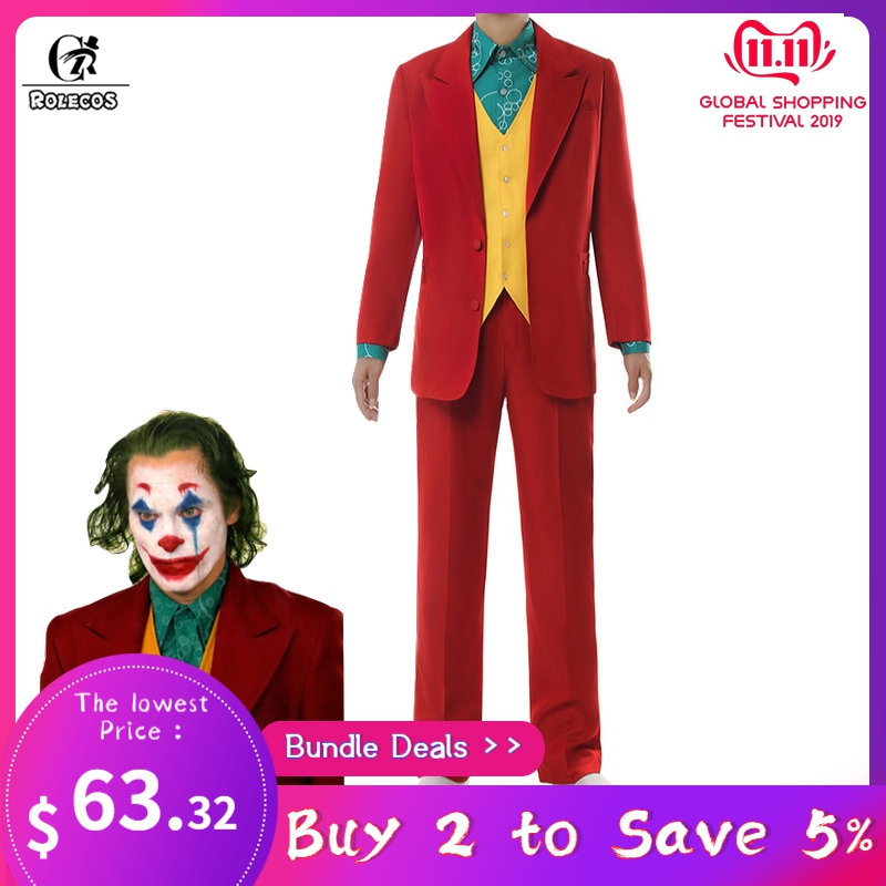 ROLECOS Joker Cosplay Costume Clown Halloween Costume Joker Men Movie Uniform Clown Business Suit