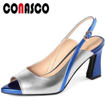 CONASCO Fashion Elegant Concise Women Sandals Summer 2020 Peep Toe Genuine Leather Pumps High Heels Wedding Party Shoes Woman