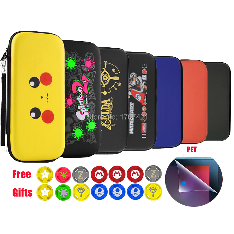 Colorful EVA Storage Bag Cover Case For Nintend Switch For NS Console With Free HD Screen Film Protector & 2pcs Joycon Caps