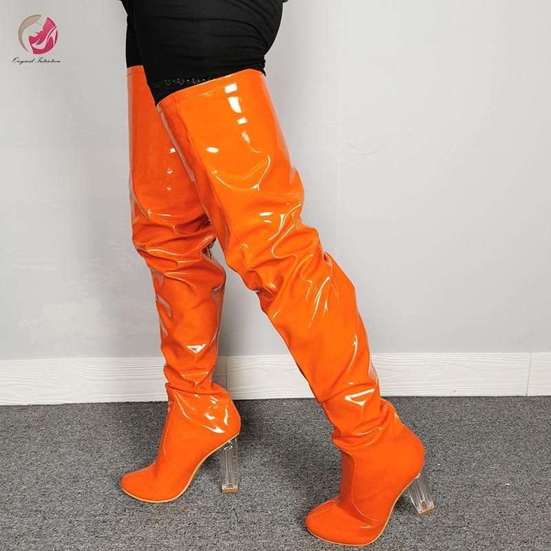 Orange Thigh High Boots