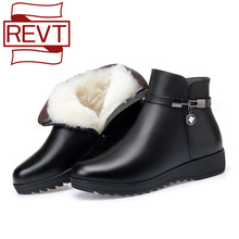 Short Boots Home-Shoes Flat-Bottom Large-Size Genuine-Leather Women's Non-Slip REVT Wool