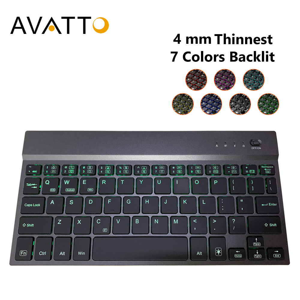 AVATTO 4mm Super Slim Aluminum Alloy 7 Color Backlit Mini Bluetooth Tablet Keyboard For Android, Mac iOS, Windows Tablet Phone image