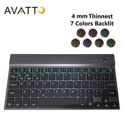 Avatto 4 Mm Super Slim Aluminium Alloy 7 Warna Backlit Mini Bluetooth Keyboard Tablet untuk Android, Mac IOS windows Tablet Ponsel