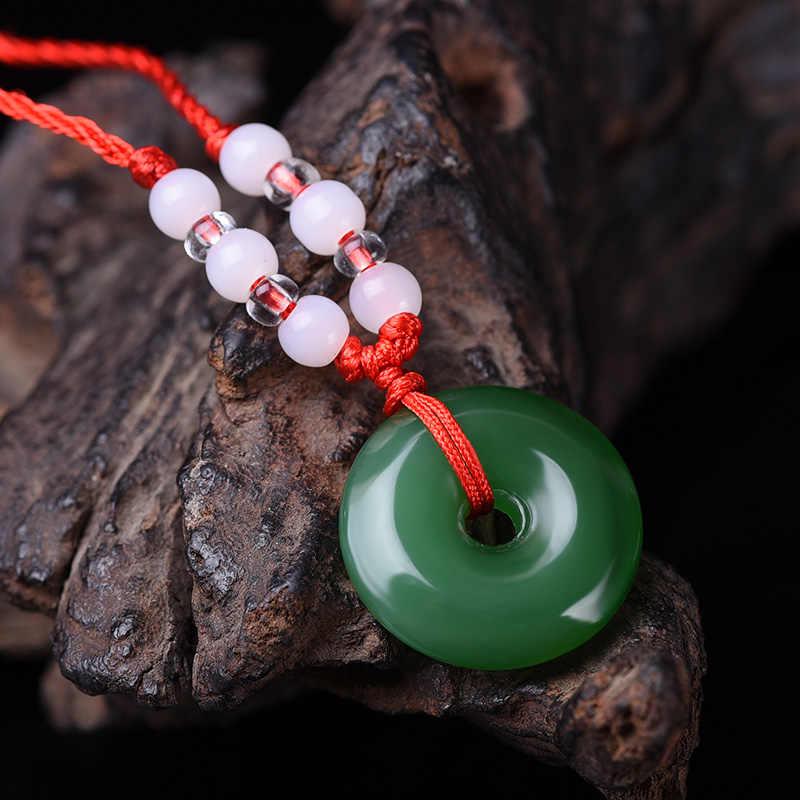 緑白翡翠安全バックルペンダントドーナツネックレスジュエリーファッションアクセサリー男性女性幸運お守りギフト
