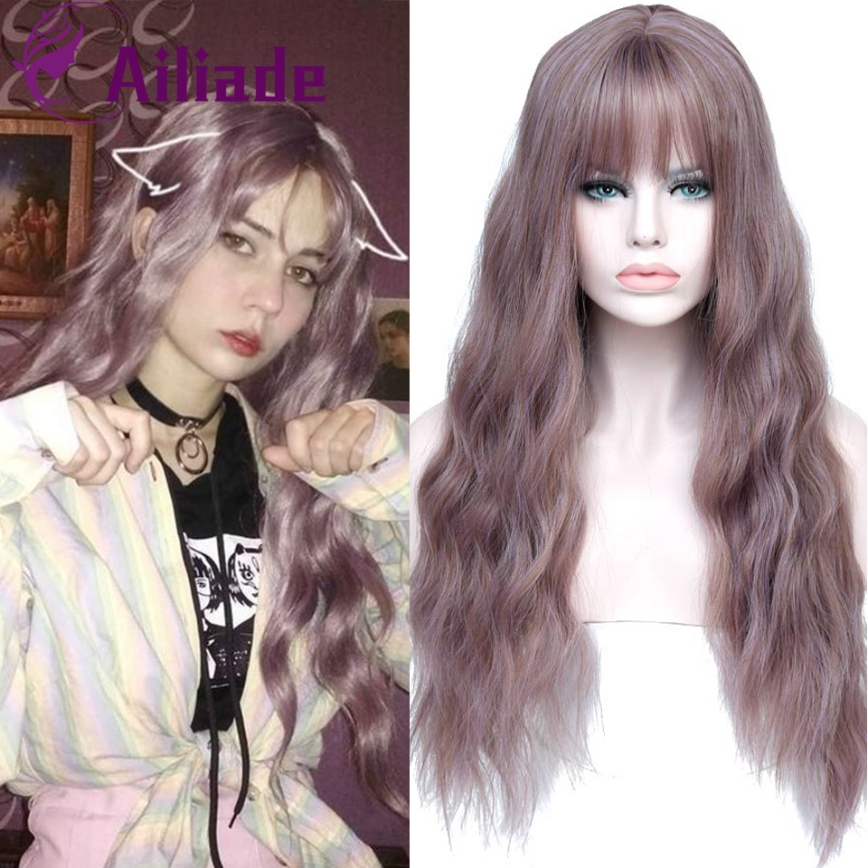 AILIADE Synthetic Non Lace Wig  26inches Long Wavy With Bangs Non Remy Hair Natural Hair Cosplay Wigs For Women Headwear