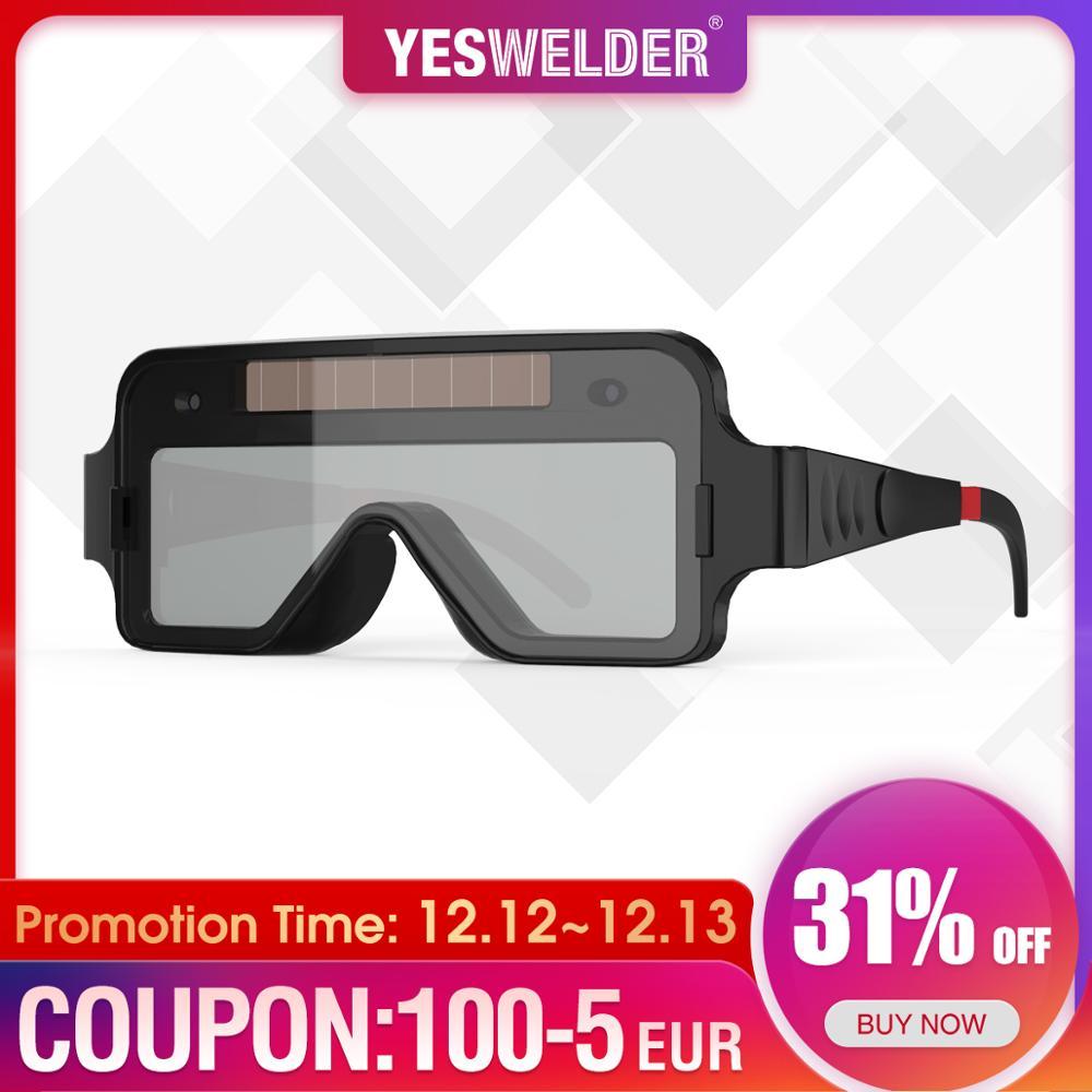 Welding YESWELDER True Solar Welding Darkening Color Welding Powered Auto Glasses TIG 2 MMA Sensors Goggles For Mask MIG Plasma