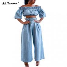 цена Plus Size Denim Two Pieces Sets Women Ruched Crop Tops & Wide Leg Jeans Women Fashion Denim Pants Set Ladies Sexy Denim Set 3xl