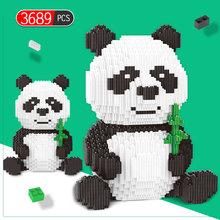 3689 adet Creator DIY birleştirin Panda Mini blokları eğitici hayvan oyuncaklar çocuk yapı taşları modeli tuğla