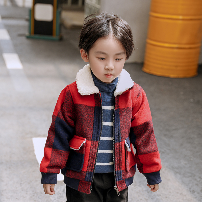 Boys Plus Velvet Plaid Jacket 2019 New Winter Wear Children's Wear Korean Children's Baby Tide Baby Kids Coats Jacket Clothing