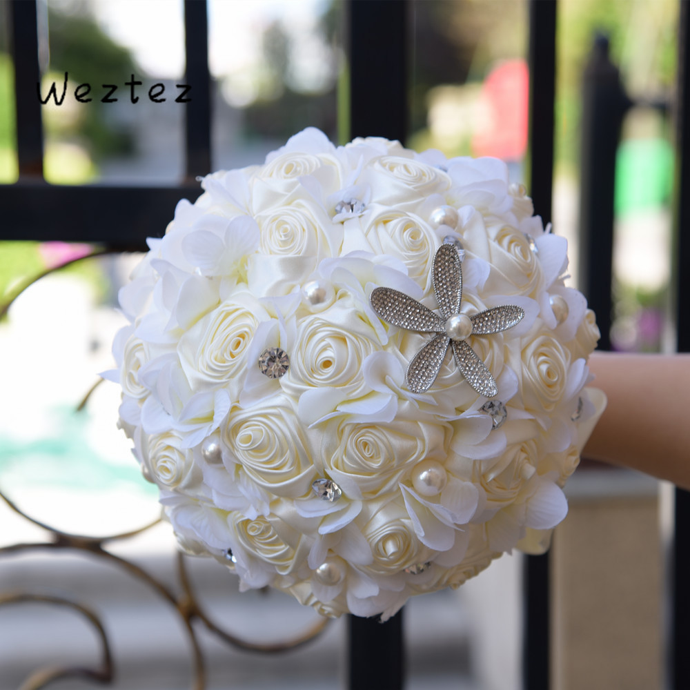 Bridesmaid Bridal Hand Holding Flowers Cream Satin Rose Bridal Wedding Bouquet Decoration Crystals Artificial Flower SPH201