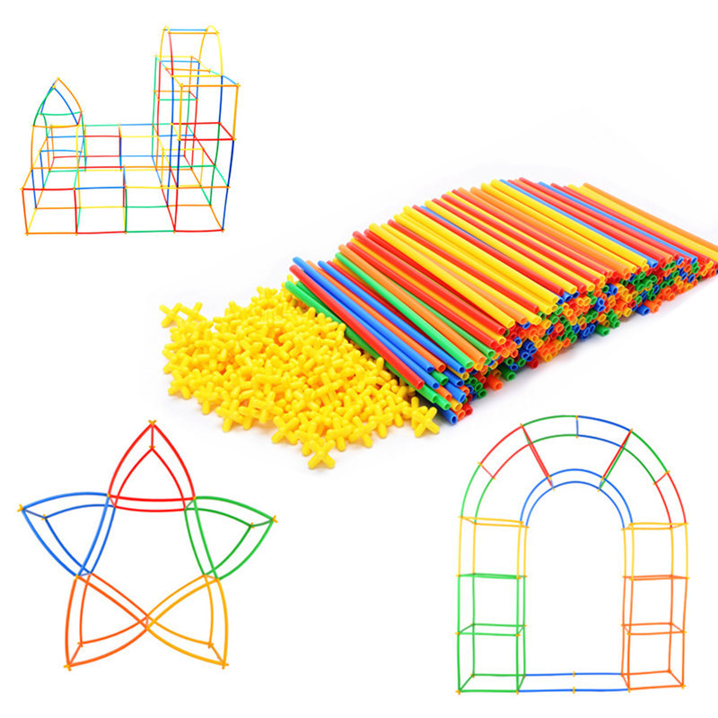 Image 5 - 4D DIY Magnetic Blocks Plastic Straw Fight Inserted Construction Building Kits Blocks Educational Toy for Children-in Magnetic from Toys & Hobbies