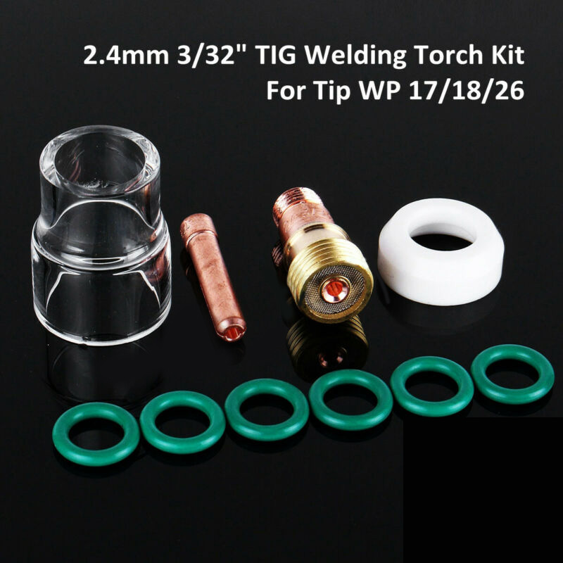 10pcs/Set TIG Welding Torch Stubby Gas Lens #12 Heat Resistant Cup Kit For WP-17/18/26 High Quality Tool Parts Pyrex Glass Cup