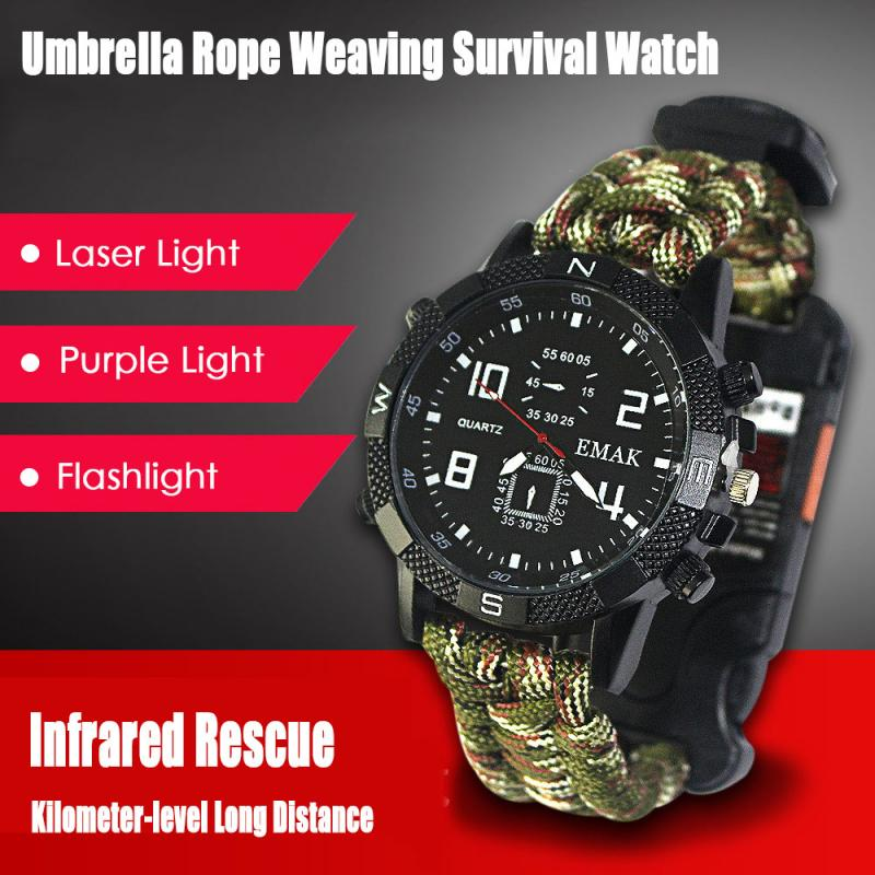 Outdoor Military Survival Sport Swimming Wrist Watch Tactical Bracelet Outdoor Emergency Survival Multifunctional Watch