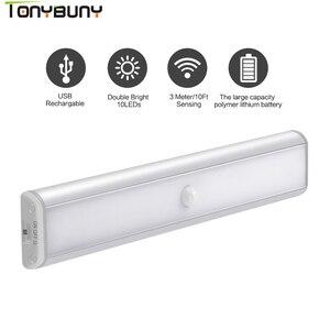 Image 1 - Closet Wardrobe LED Under Cabinet Lights by USB Rechargeable Motion sensor Led Night Lights led cabinet light lamps