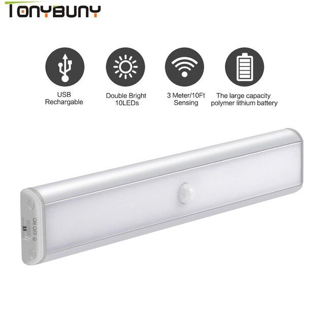 Closet Wardrobe LED Under Cabinet Lights by USB Rechargeable Motion sensor Led Night Lights led cabinet light lamps