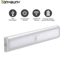 Dolap dolap altında LED dolap ışığı tarafindan USB şarj edilebilir hareket sensörlü Led gece ışıkları led dolap ışığı lambaları