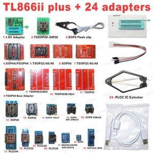 Image 1 - XGECU 100% 오리지널 TL866II Plus 범용 Minipro 프로그래머 + 24 어댑터 + 테스트 클립 TL866 PIC Bios 고속 프로그래머
