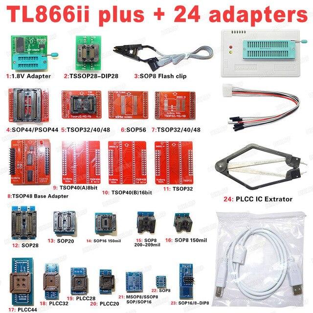 XGECU 100% 오리지널 TL866II Plus 범용 Minipro 프로그래머 + 24 어댑터 + 테스트 클립 TL866 PIC Bios 고속 프로그래머