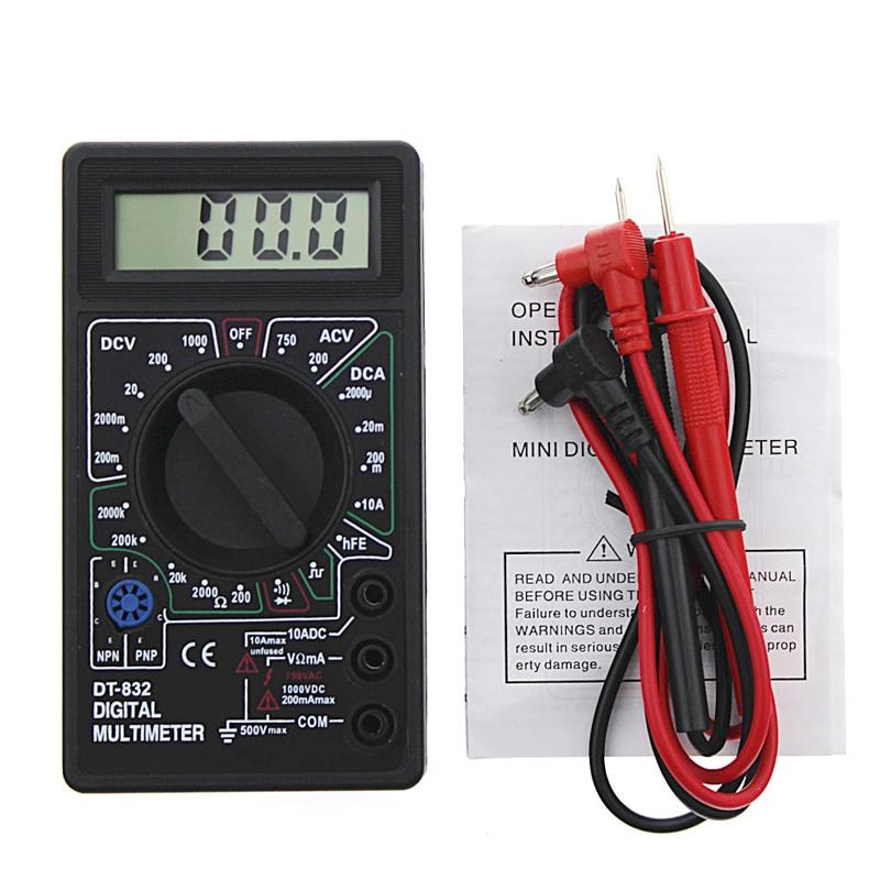 Профессиональный цифровой мультиметр DT832, ЖК-дисплей, Вольтметр постоянного тока, амперметр, Омметр, тестер