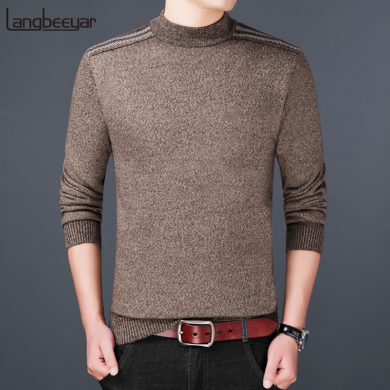 2019 New Fashion Brand Sweater For Mens Pullovers Turtleneck Slim Fit Jumpers Knit Woolen Autumn Korean Style Casual Men Clothes