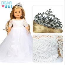 18 inch Baby New Born Doll Clothes Accessories Purple White Crown Hair Wedding Dress Set With Flower