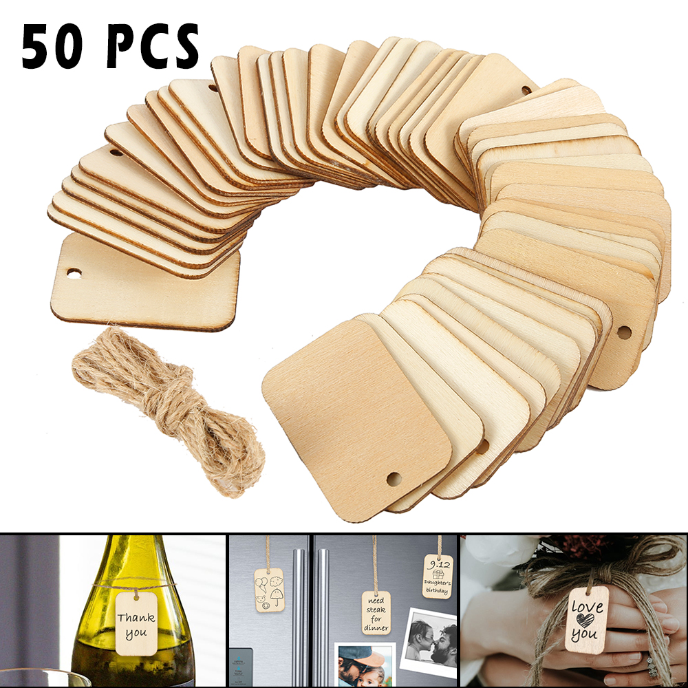 50pcs Wooden Label Nature Wood Slice Gift Tags Blank Rectangle Wooden Hanging Tags Label With Hemp Ropes For Wedding Party Xmas