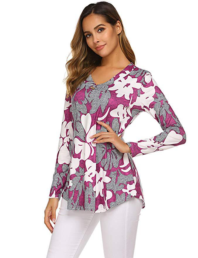 Hf099321cbddf45f9b301e0992476b33dx - Large size Blouse Women Floral Print Long Shirts elegant Long Sleeve Button Autumn Tunic Tops Plus Size Female Clothing