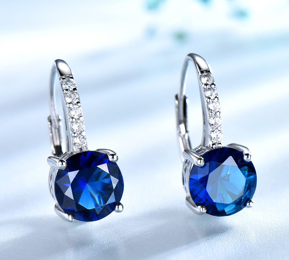 Hf09933d9dd5e46d086386bcf2f864fd5s UMCHO 100% Real Silver 925 Jewelry Round Created Nano Sapphire Clip Earrings For Women Party Fashion Gift Charms Fine Jewelry