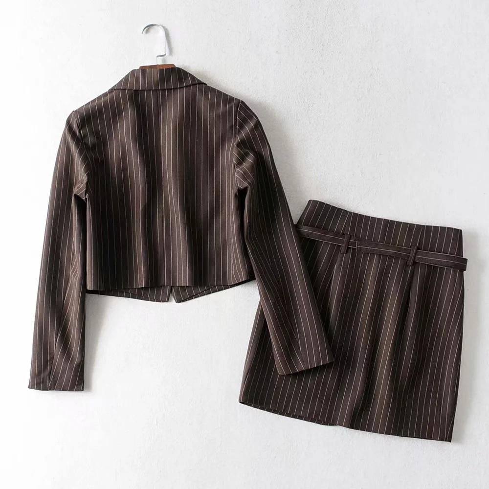 Vintage Striped Blazer Two Piece Set Women Long Sleeve Elegant Pencil Skirt Suits 2020 Summer Autumn Casual Female Chic Clothes