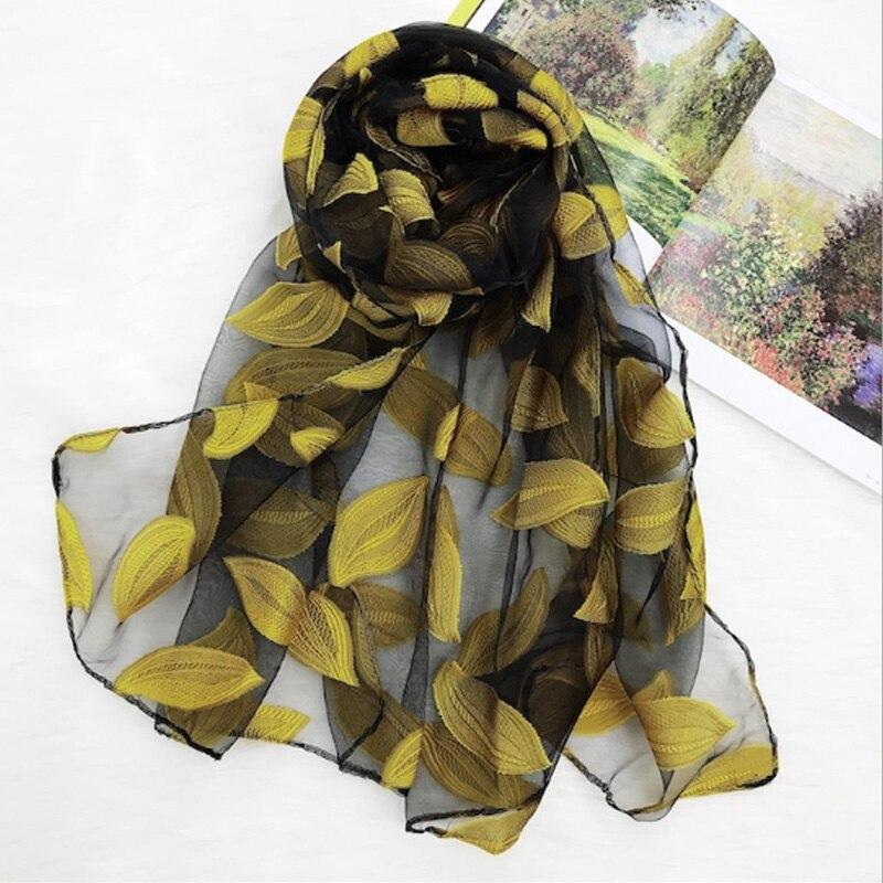 2020 новый женский шарф листья и цветочный узор длинная шаль шарфы Весна Осень Высокое качество органза леди элегантный хиджаб обертывания