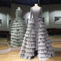 Elegant Gray Tiered Dubai Couture Evening Dresses Middle East Newest Prom Dress Long Sleeve Girl Gowns For Party Arabic Vestidos