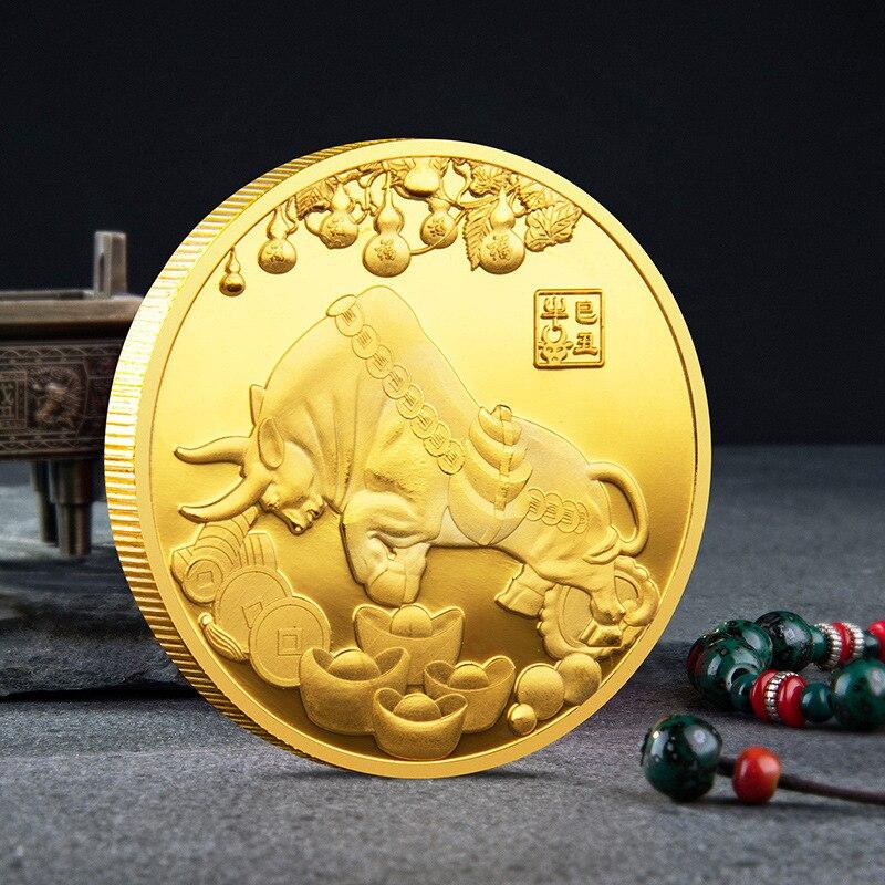 2021 Новый год Золотая монета Двенадцать Знак зодиака бык набор памятных монет подарок декоративные коллекция монет
