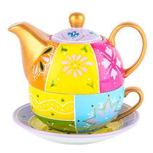 ARTVIGOR Portable Travel Tea Set for One with One Teapot,Cup and Saucer Stackable Porcelain Family Office Personal Teaware Set