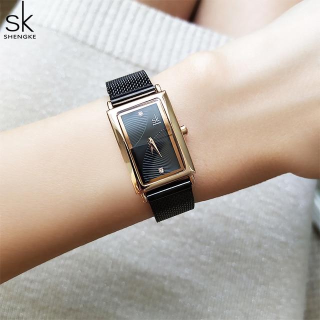 Shengke Women Watches Fashion Geneva Designer Ladies Watch Luxury Brand Rectangle Quartz Gold Wrist Watch Luxury Gifts For Women 1