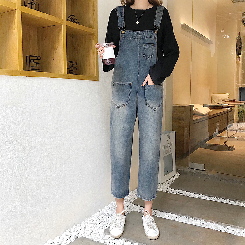 Vintage Overalls Women Boyfriend Jeans Women Plus Size High Waist Jeans Streetwear Pockets Loose Trousers Wide Leg Pants V837