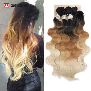 Image 3 - Wignee 3 Bundles With Closure Synthetic Hair Extensions For Women Natural Black Hair To Grey/Purple/Green/Blue Wavy Hair Piece