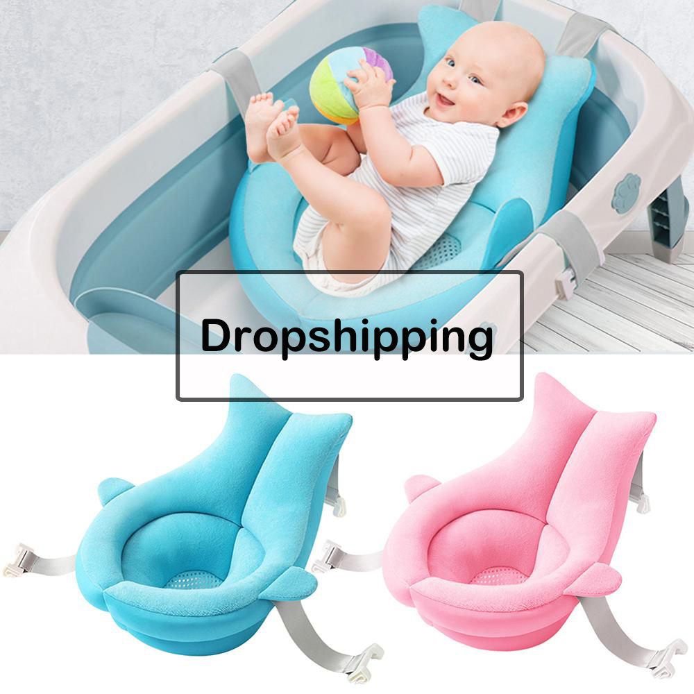 Portable Baby Shower Bath Tub Pad Non-Slip Bathtub Mat Newborn Safety Security Bath Support Cushion Foldable Soft Pillow