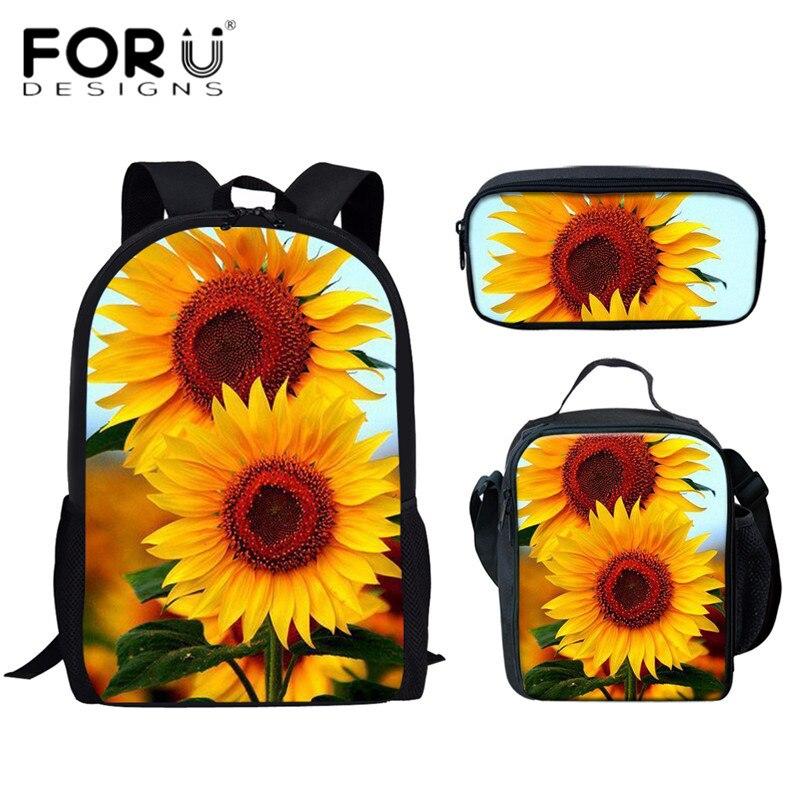 FORUDESIGNS Sunflower Print 3D School Bags Set Kids Girls Casual Schoolbags Lunch Case Pencil Bag Children 3pcs Backpack Satchel