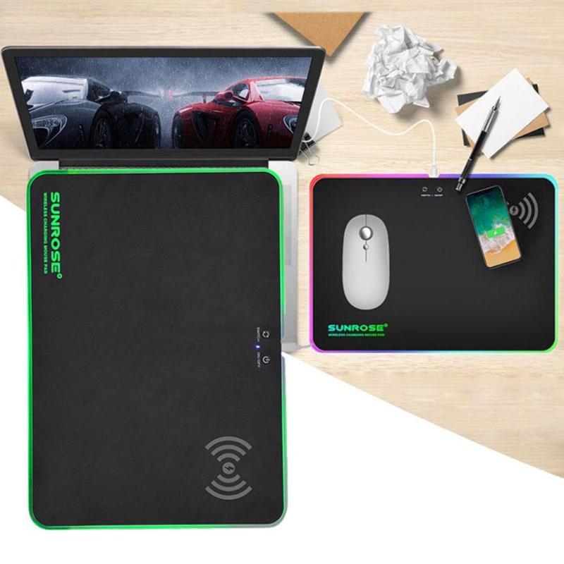 SUNROSE MP-100 tapis de souris tapis de souris avec fonction de chargeur sans fil pour téléphone ordinateur USB Gamer tapis de souris RGB lumières changement de couleur